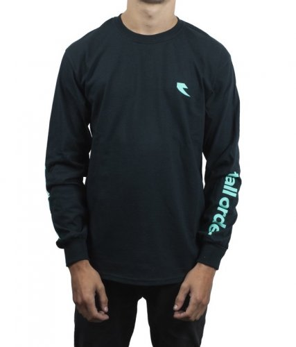 Triko Tall Order LS LOGO Black/ Teal Arm Print